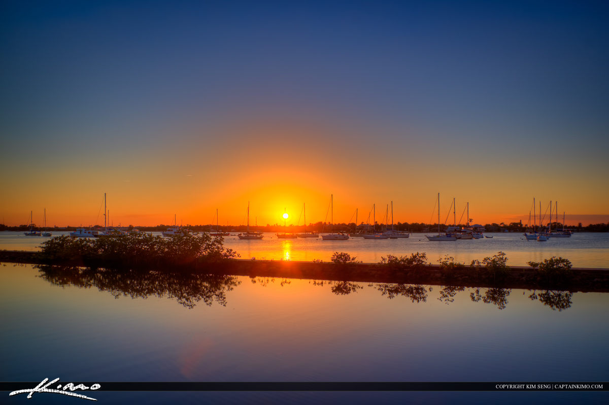 Sunset at Shepard Park along the St Lucie River in Stuart Florida