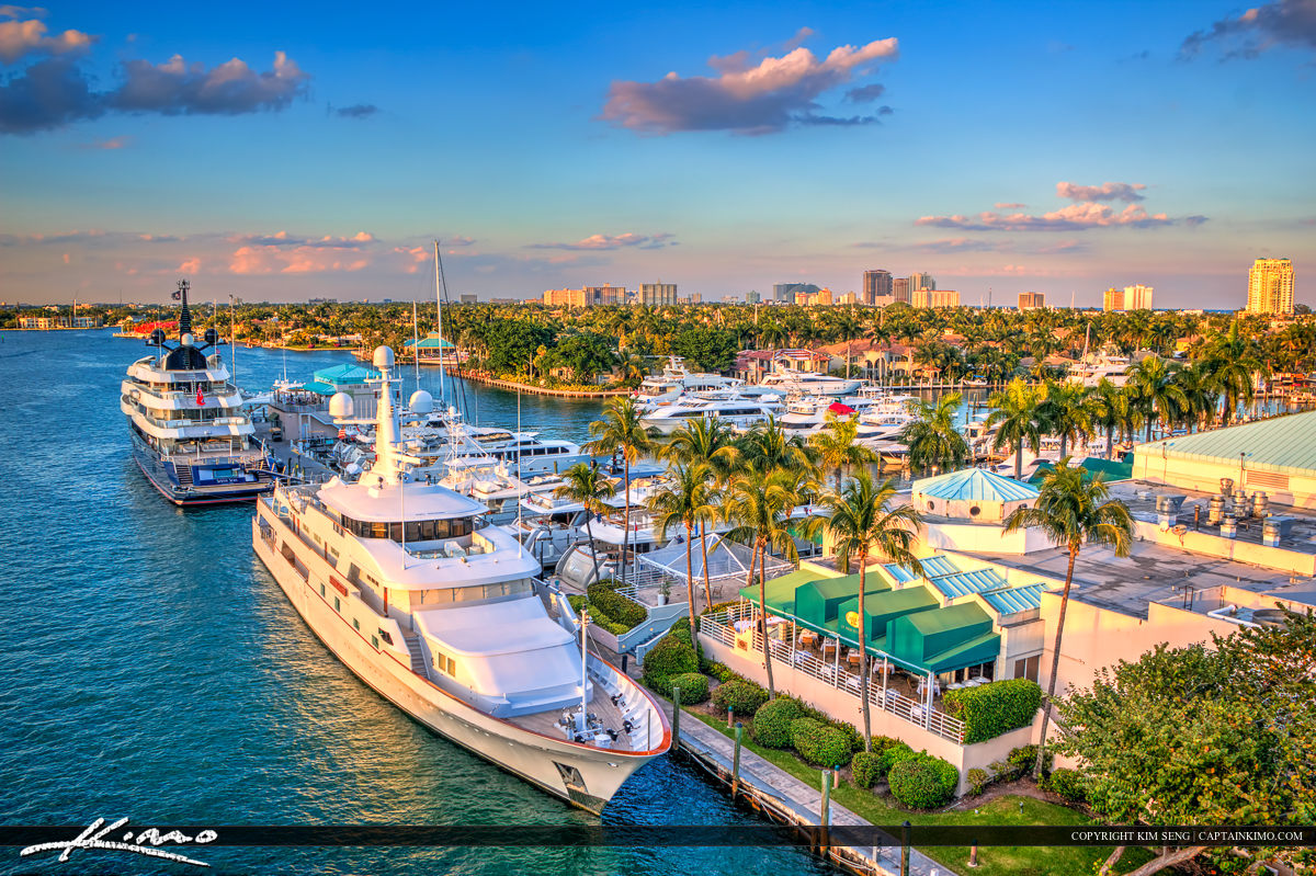 Marina with Yacht Fort Lauderdale City