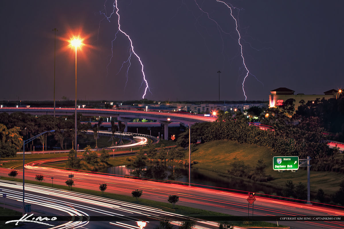 Lightning Storm PGA Blvd Palm Beach Gardens Highway Ramp