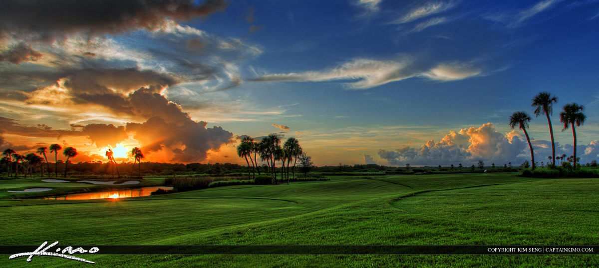 Jupiter Golf Course Sunset Palm Beach County Florida