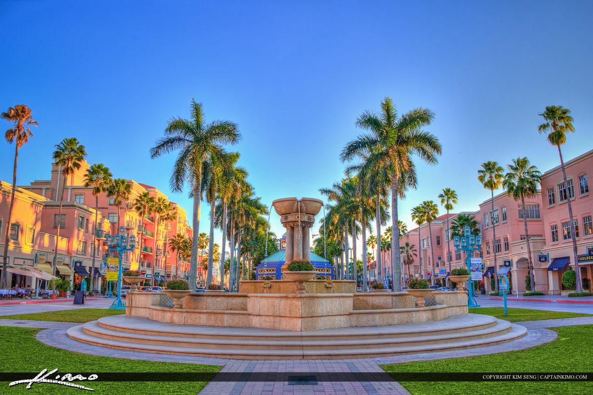 Mizner Park Water Fountain Boca Raton City Downtown