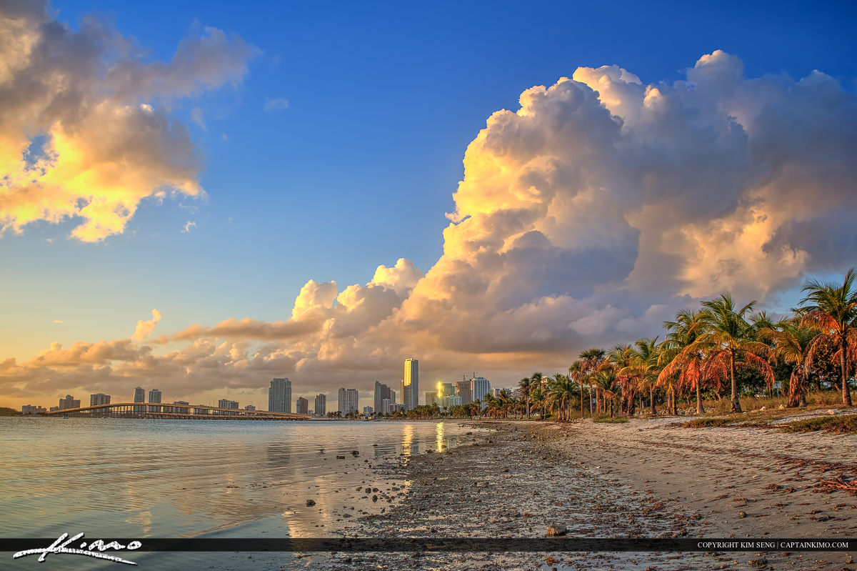 Miami Skyline from Rickenbacker Park Key Biscayne Florida