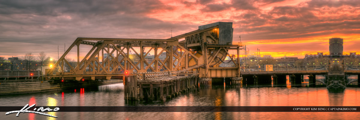 Train Trestle Boston Massachusetts Sunset Panorama