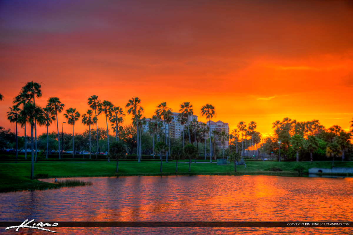 Sunset Palm Beach Gardens Lake Mall