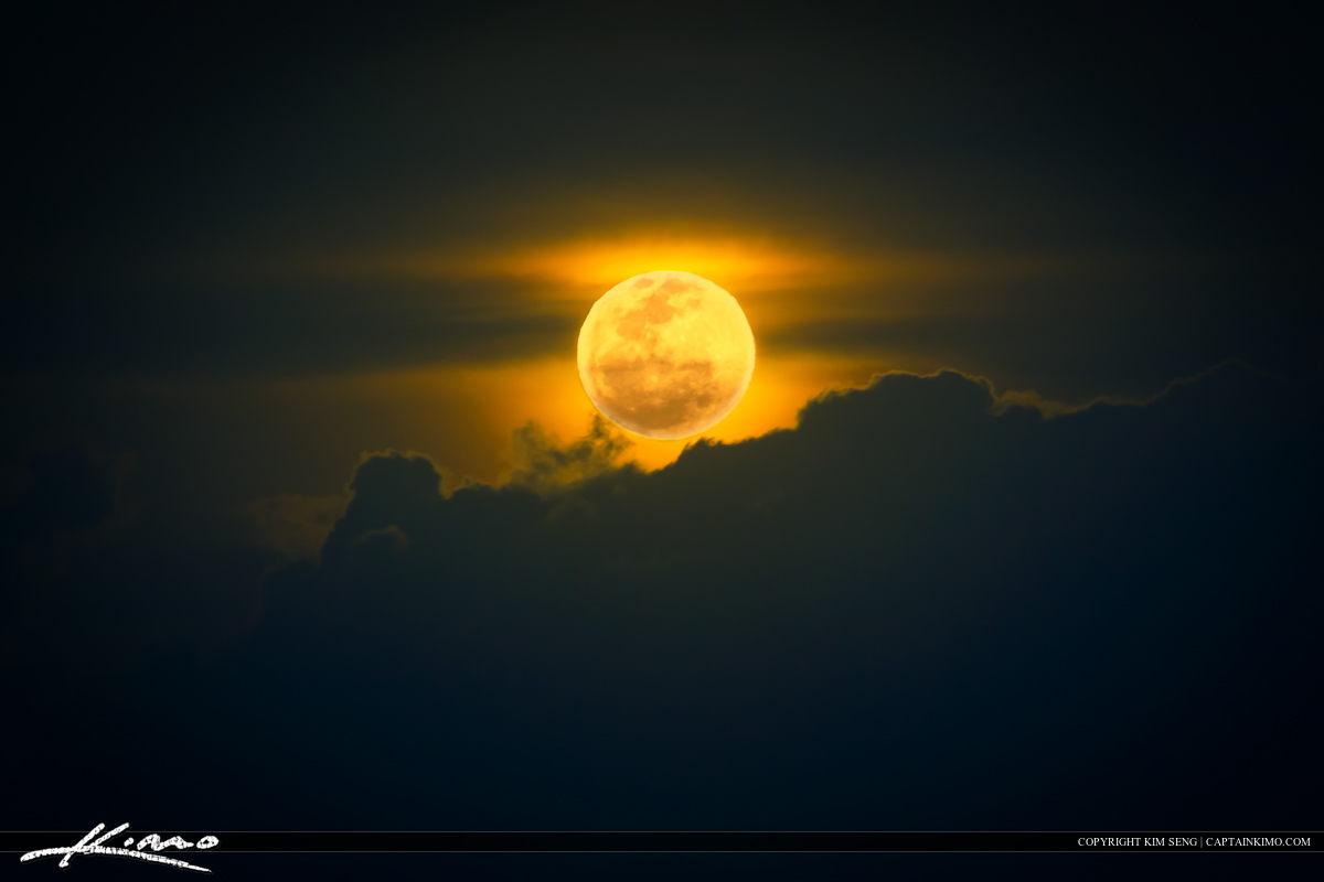 Cloudscape Full Moon Rise Florida Sky
