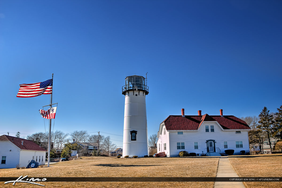 Chatham Lighthouse Cape Code American Flag
