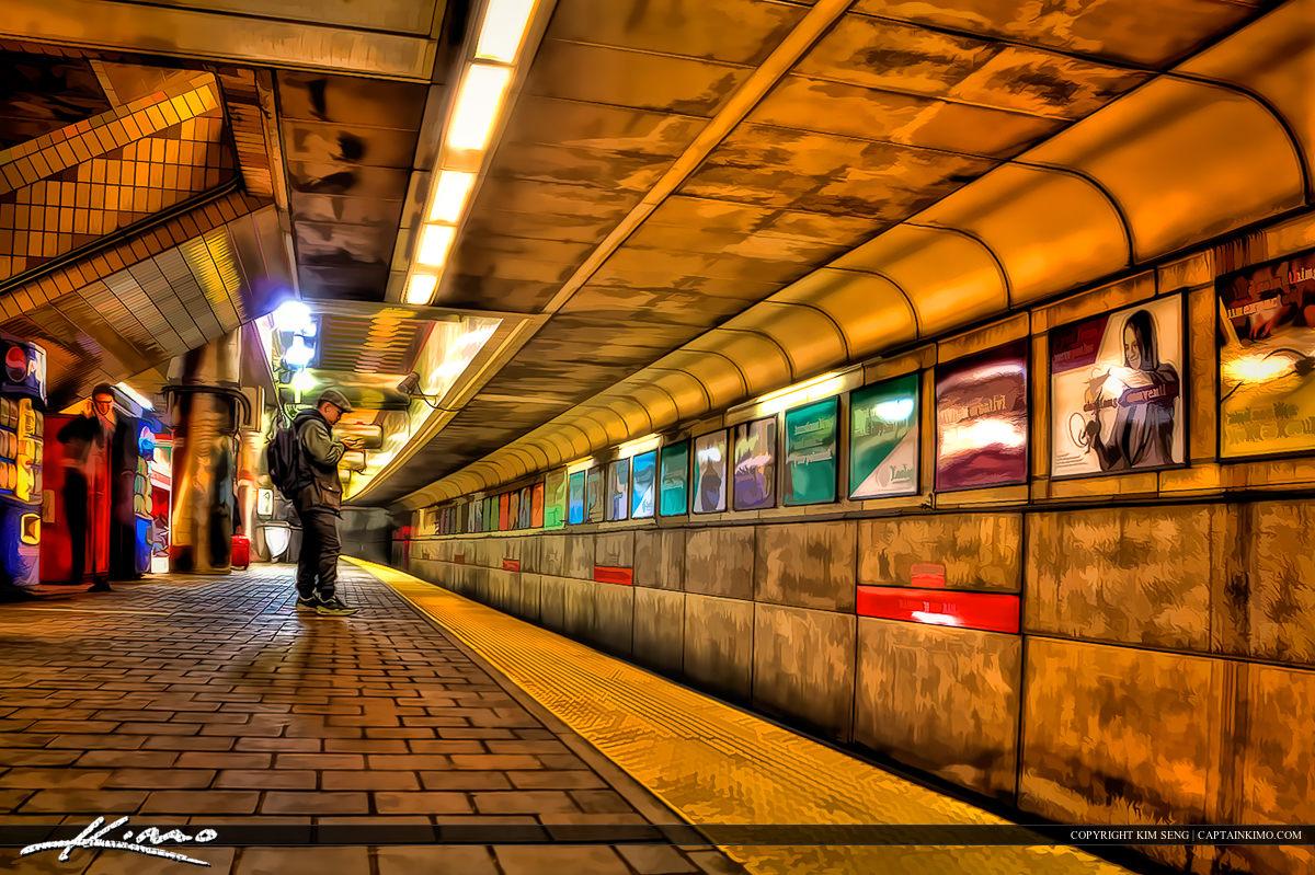 Boston Subway Wating for T Train