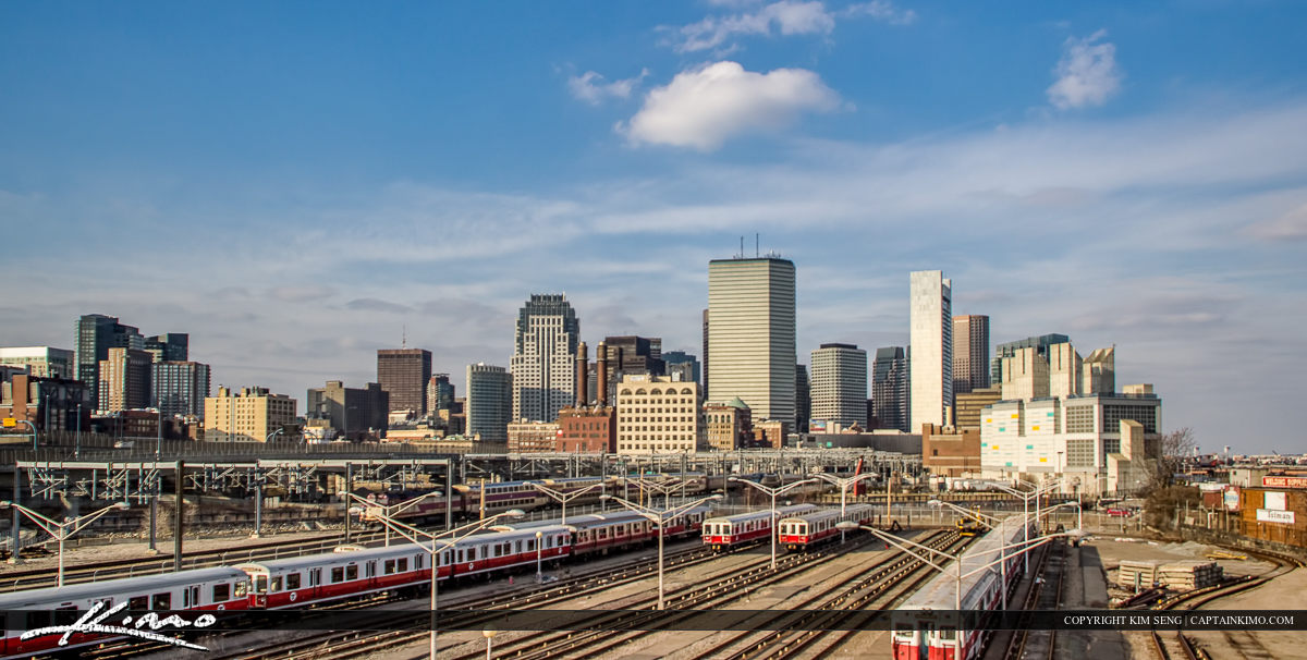 Boston Skyline Commuter Trains at Station