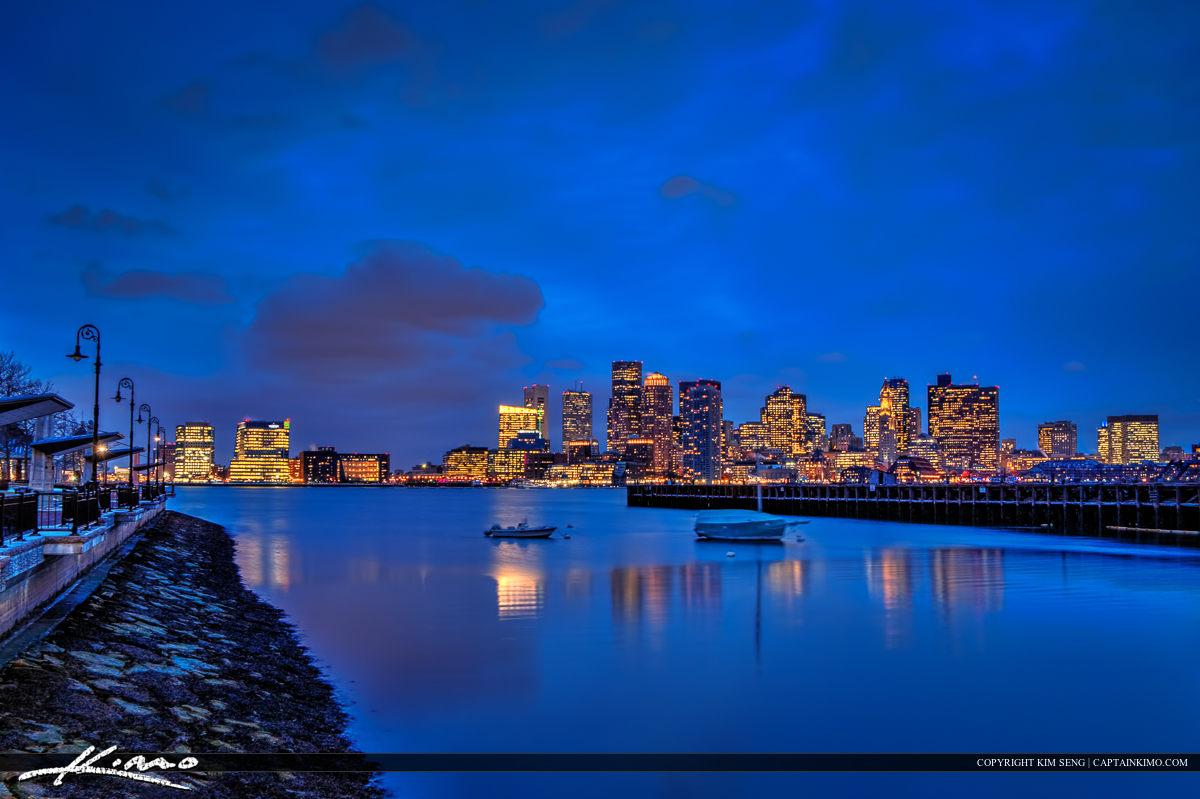 Boston City Skyline Nighttime Blues form Piers Park