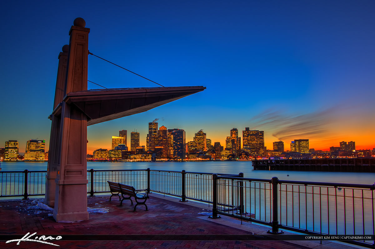 Boston City Skyline from Piers Park at Sunset