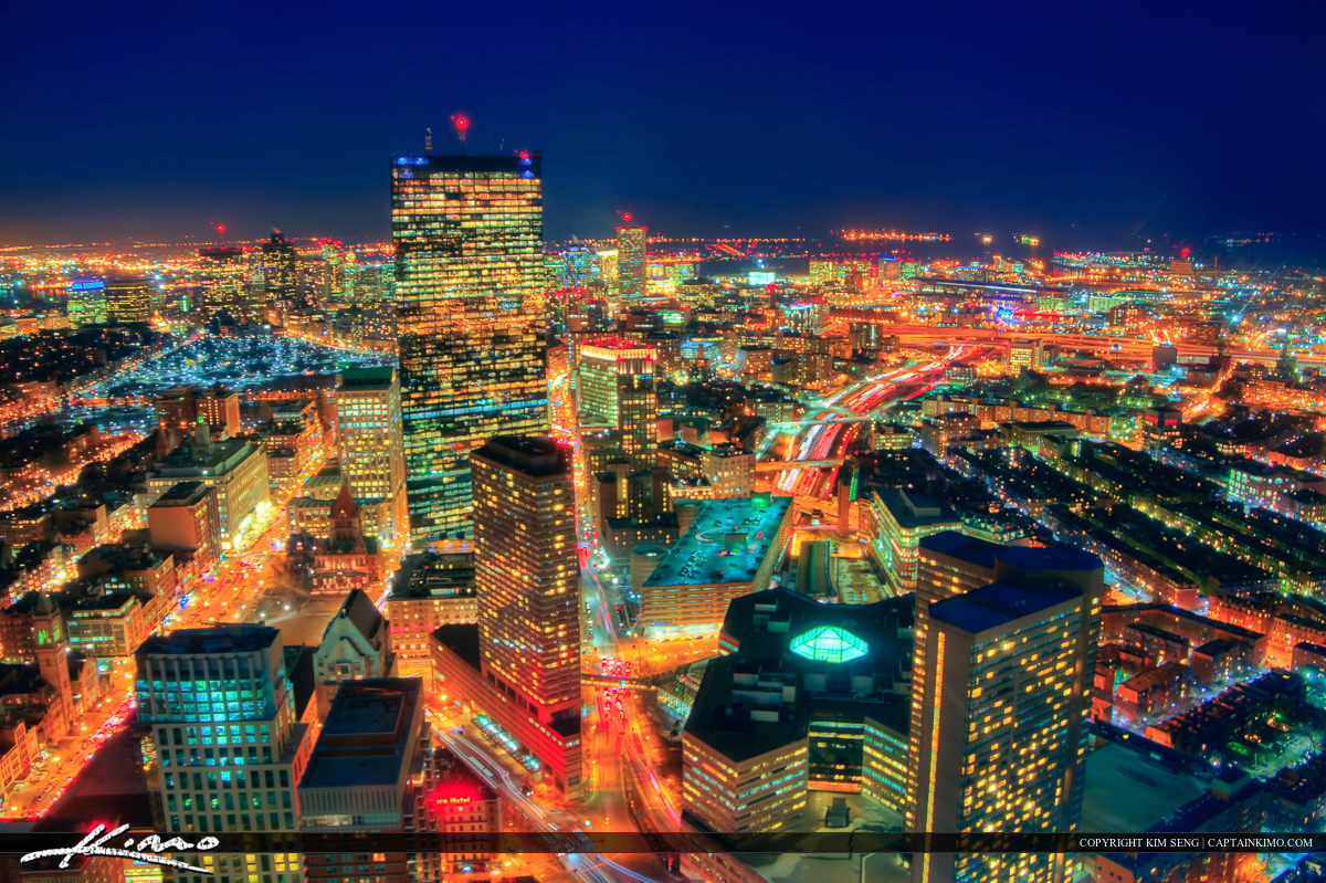 Boston City Night Lights Aerial from Prudential Building