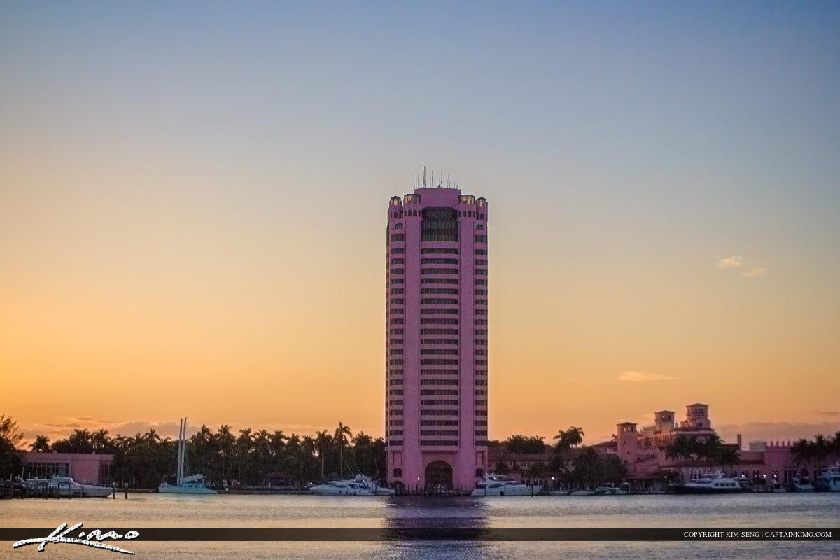 Boca Raton Pink Condo at Waterway Lake Sunset