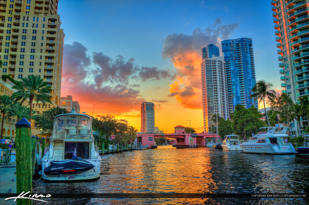 Riverwalk Downtown Sunset Fort Lauderdale City