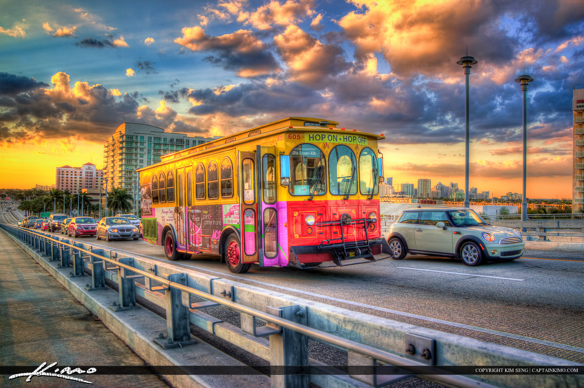 HDR Photography Trolly Fort Lauderdale Bus Ride