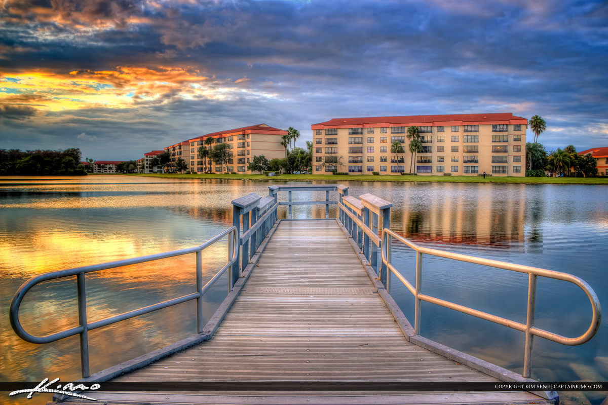 Floating Pier at Tradewinds Park Lake Coconut Creek Florida