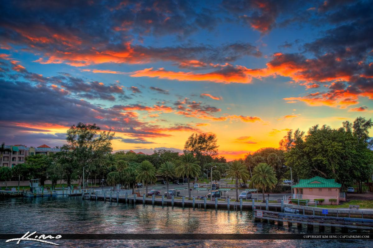 Sunset at Silver Palm Park Boat Ramp Boca Raton
