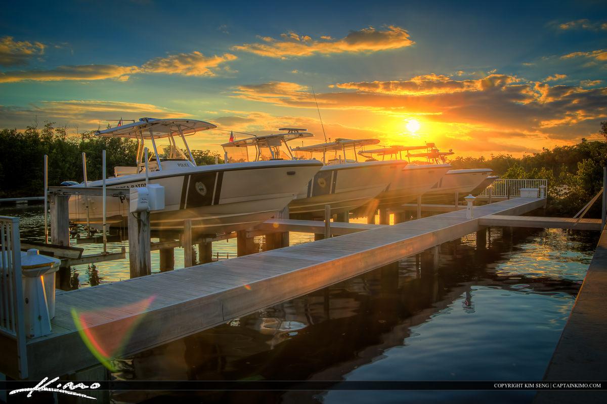 Sunset Police Boats Spanish River Park Boca Raton