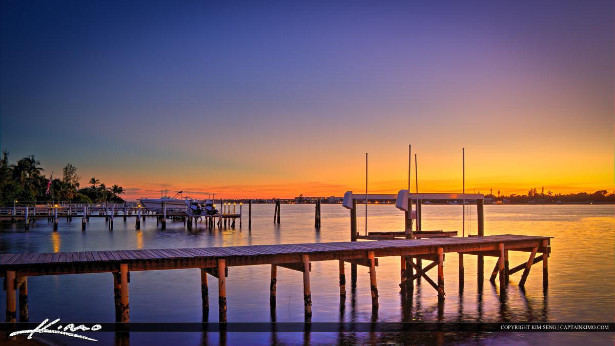 Lantana Dock at Lake Durign Sunset