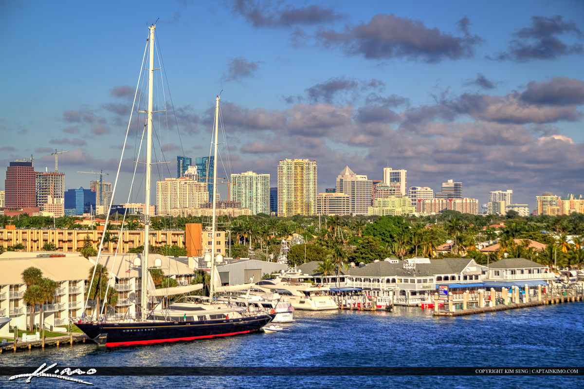 Fort Lauderdale Skyline with Sailboat at Waterway