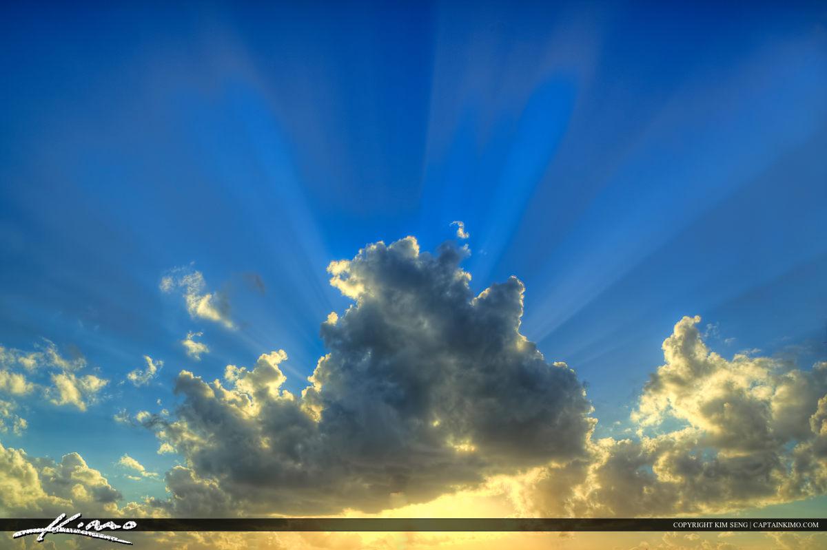 Beautiful Light Rays from Cloud Sunrays Beam of Light Clouds