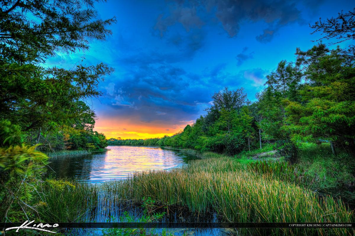 Canal Lake Spiwall in Jupiter Florida Sunset