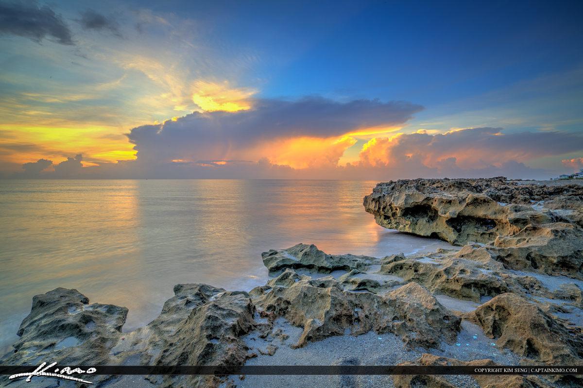 Hutchinson Island Rocks at Beach Sunrise