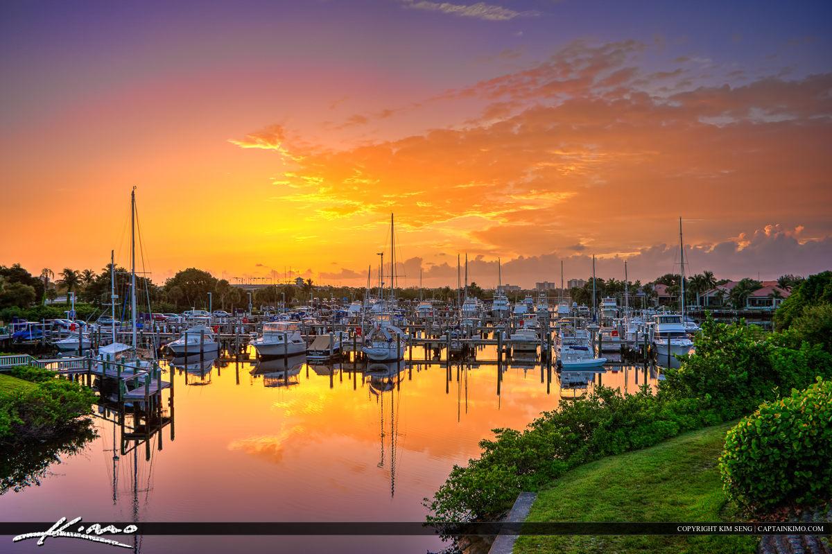HDR Photography Sailboats at Marina Sunrise Florida