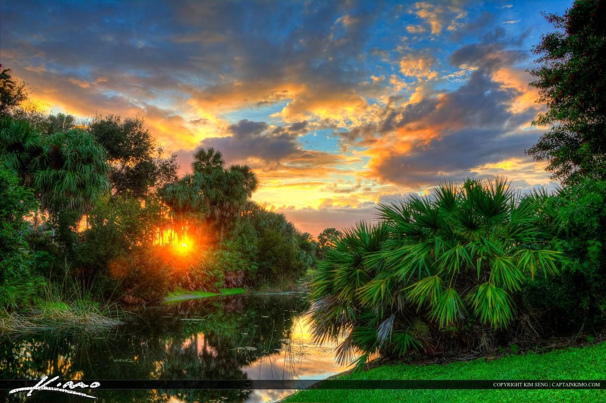Palm Beach Gardens Sunset at Neighborhood Canal