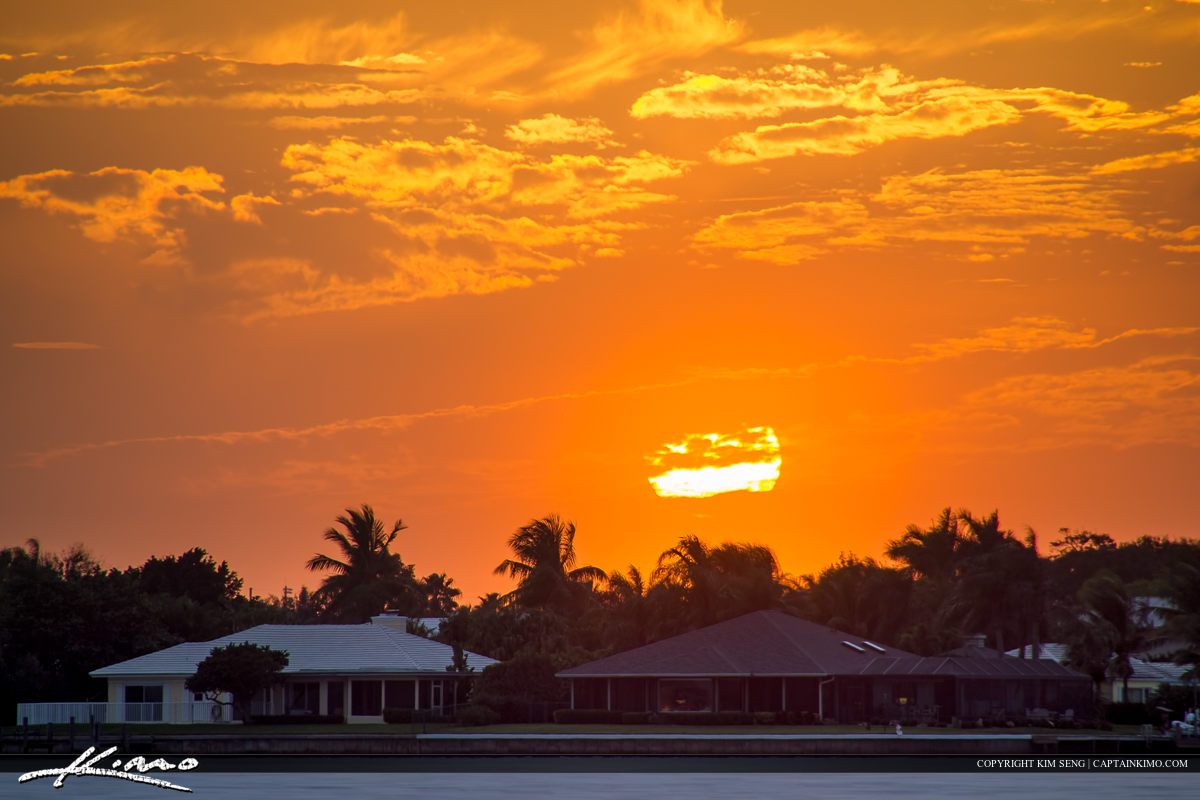 Sunset Over Resident Homes Vero Beach Florida Indian River Count