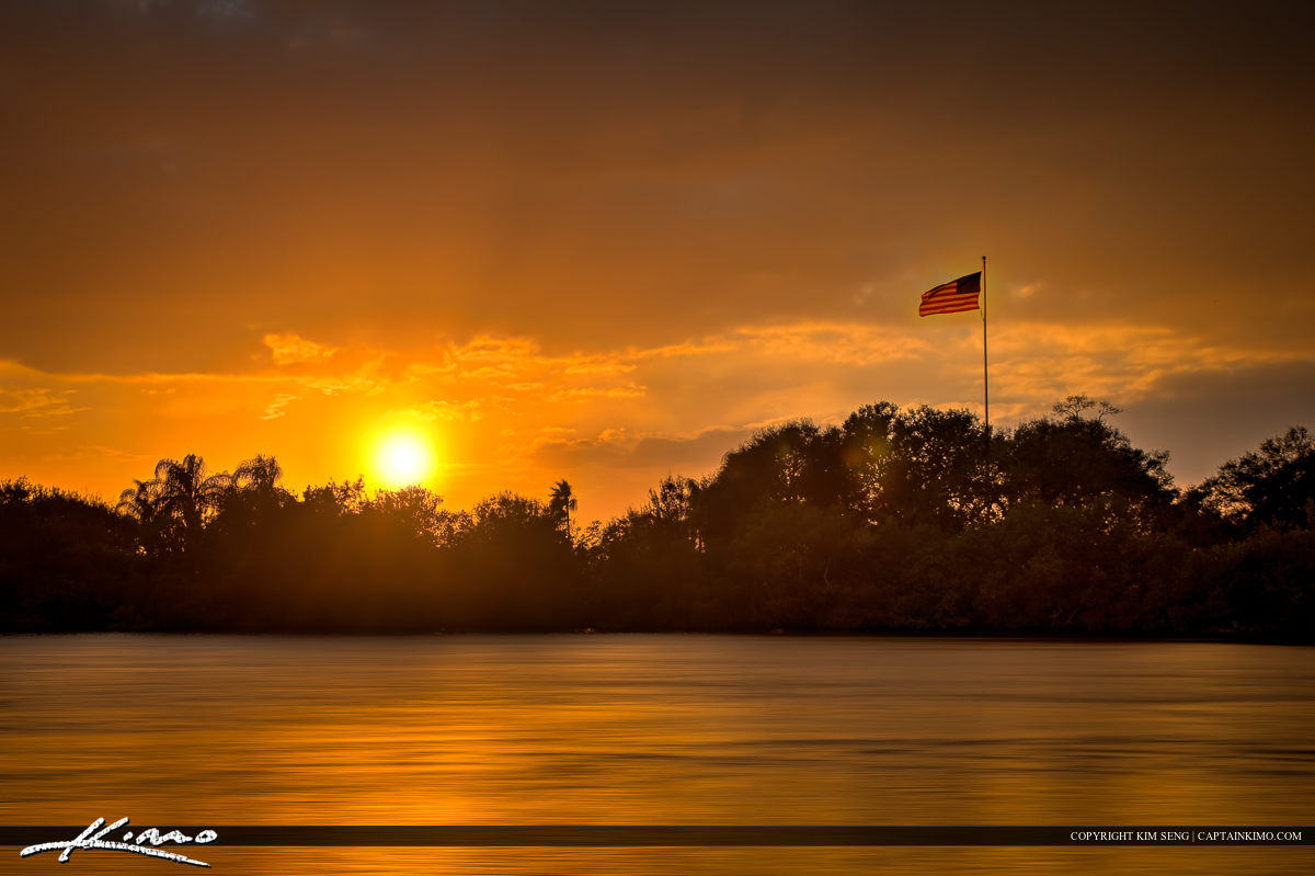American Flag Sunset Vero Beach Florida Indian River County