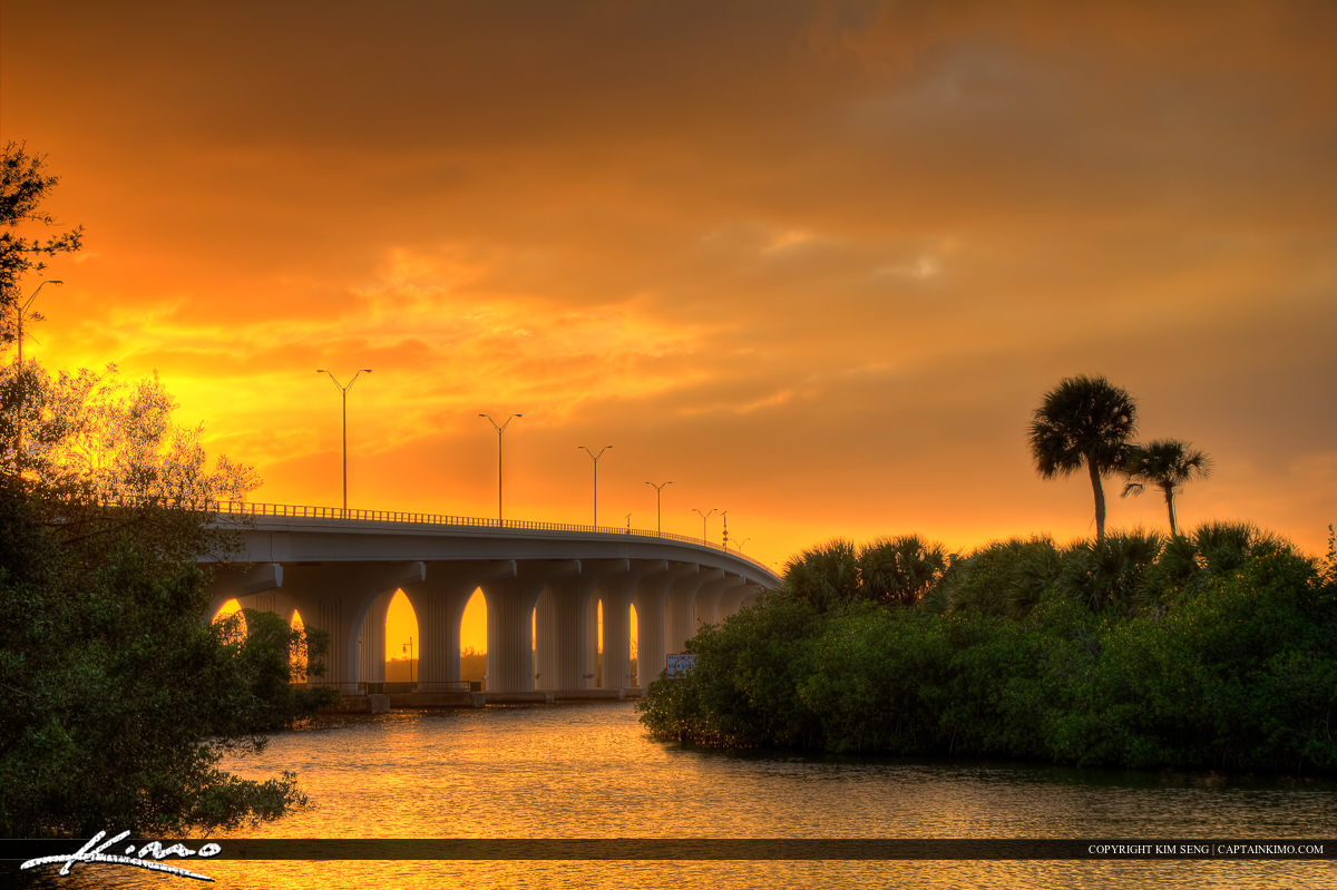 Merril P Barber Bridge Sunset at Lagoon Vero Beach