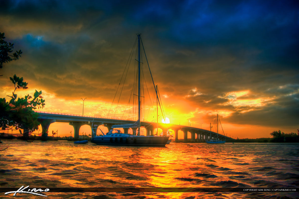 Sailboat Sunset at Merril P Barber Bridge Vero Beach