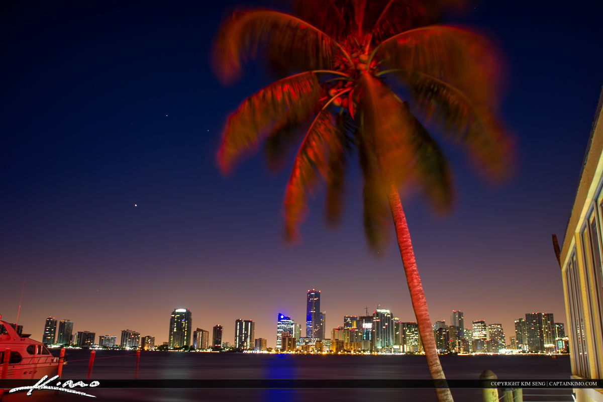 Miami City Skyline from a Restaurant in Key Biscayne