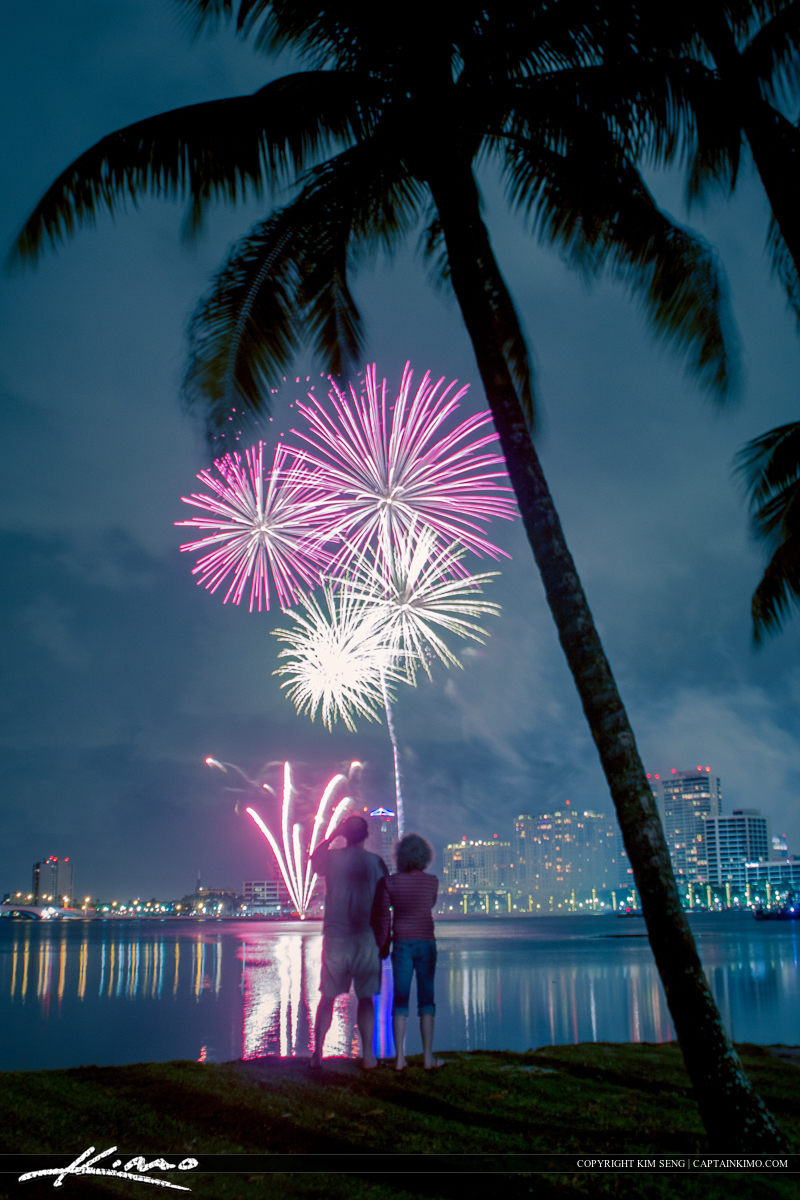 Couple Watching Fireworks New Years 2014