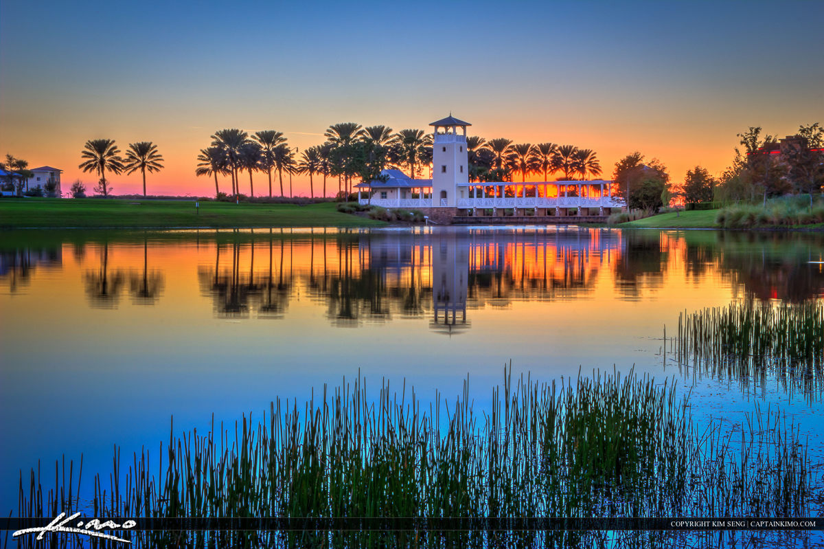 Tradition Tower at Lake During Sunset Port St Lucie Florida WO W