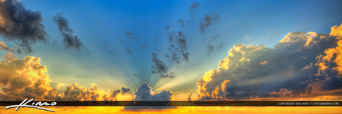 Glory Over the Ocean Sunrays Beam of Light Clouds