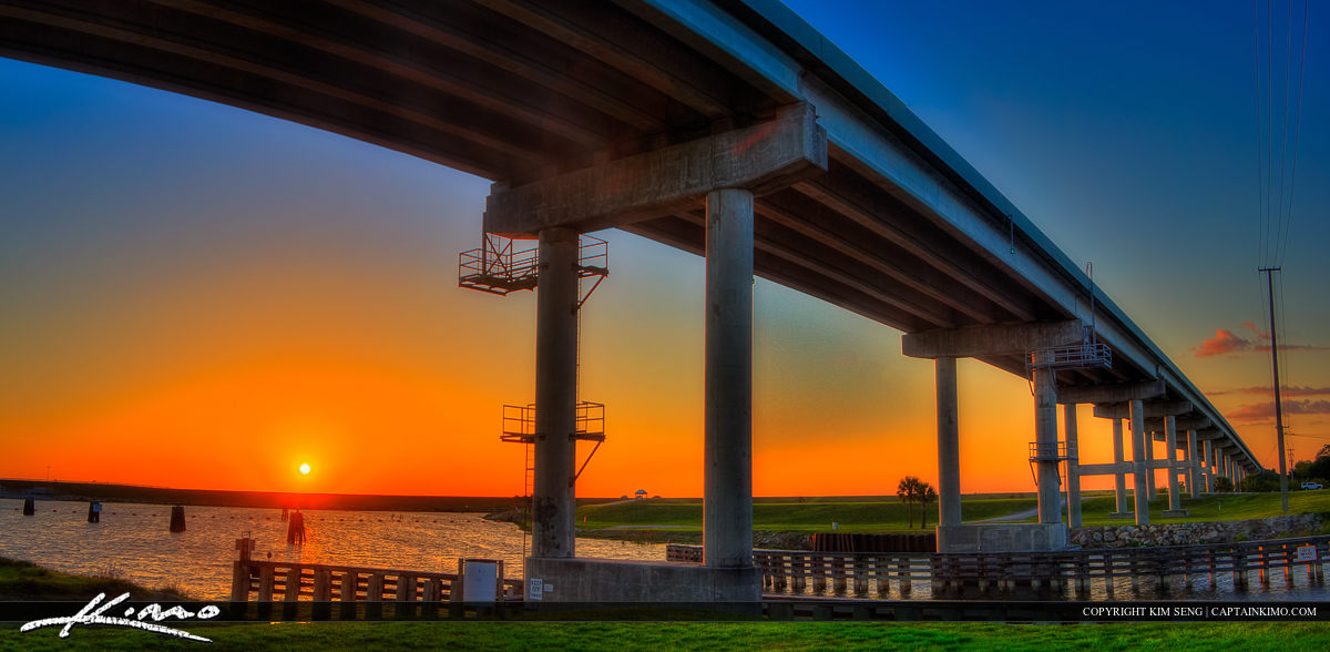 Port Mayaca Bridge at Lake Okeechobee During Sunset