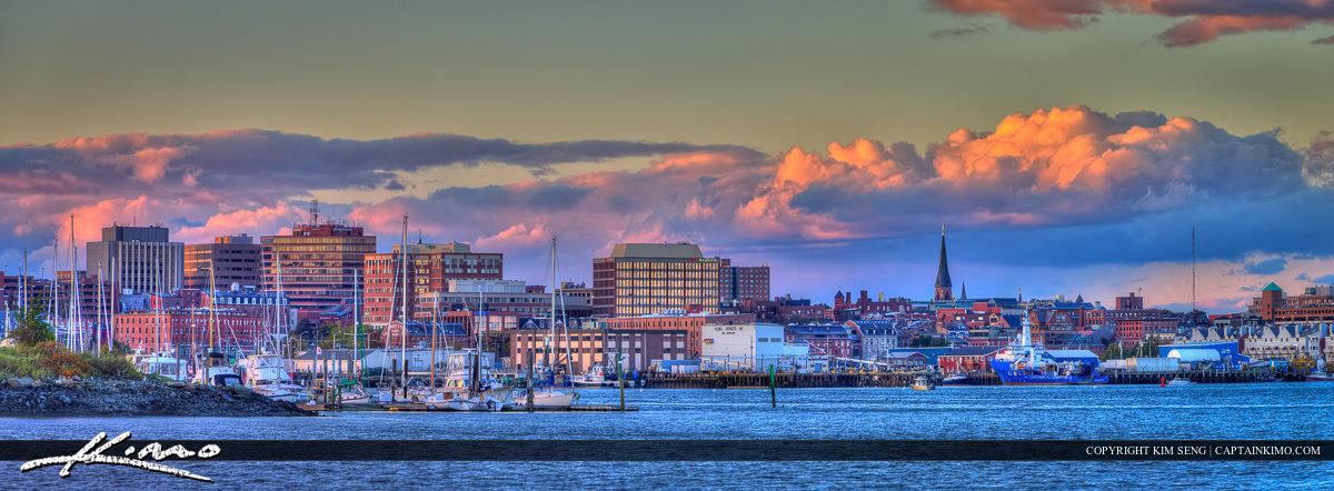Portland Maine Cityscape Skyline Downtown Panorama