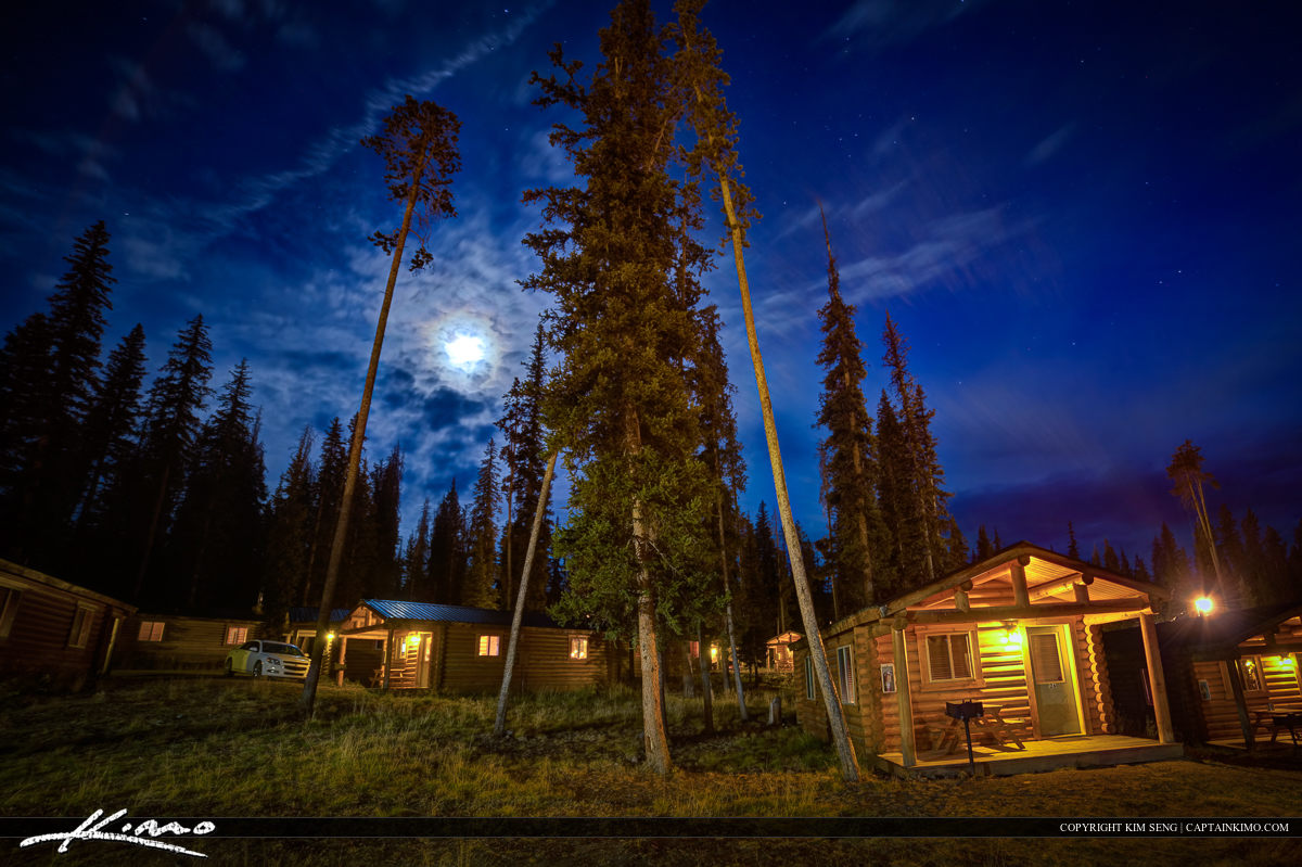 Wyoming Cabins at Night by Grand Teton National Park