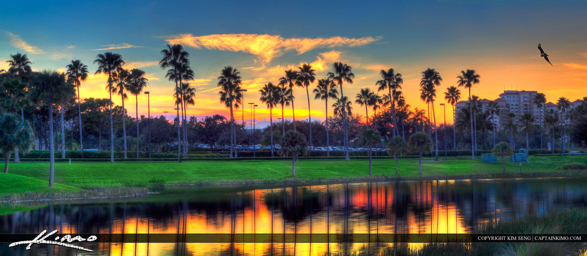 Palm Beach Gardens Sunset at Lake by Mall
