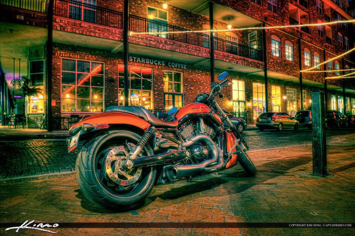 Orange Harley Motorcycle Downtown Gainesville Florida