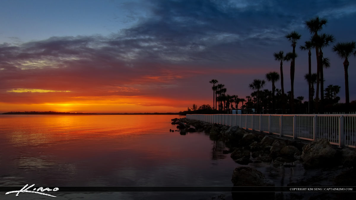 Sunrise at Tampa Bay from Skyline Bridge St Petersburg Florida