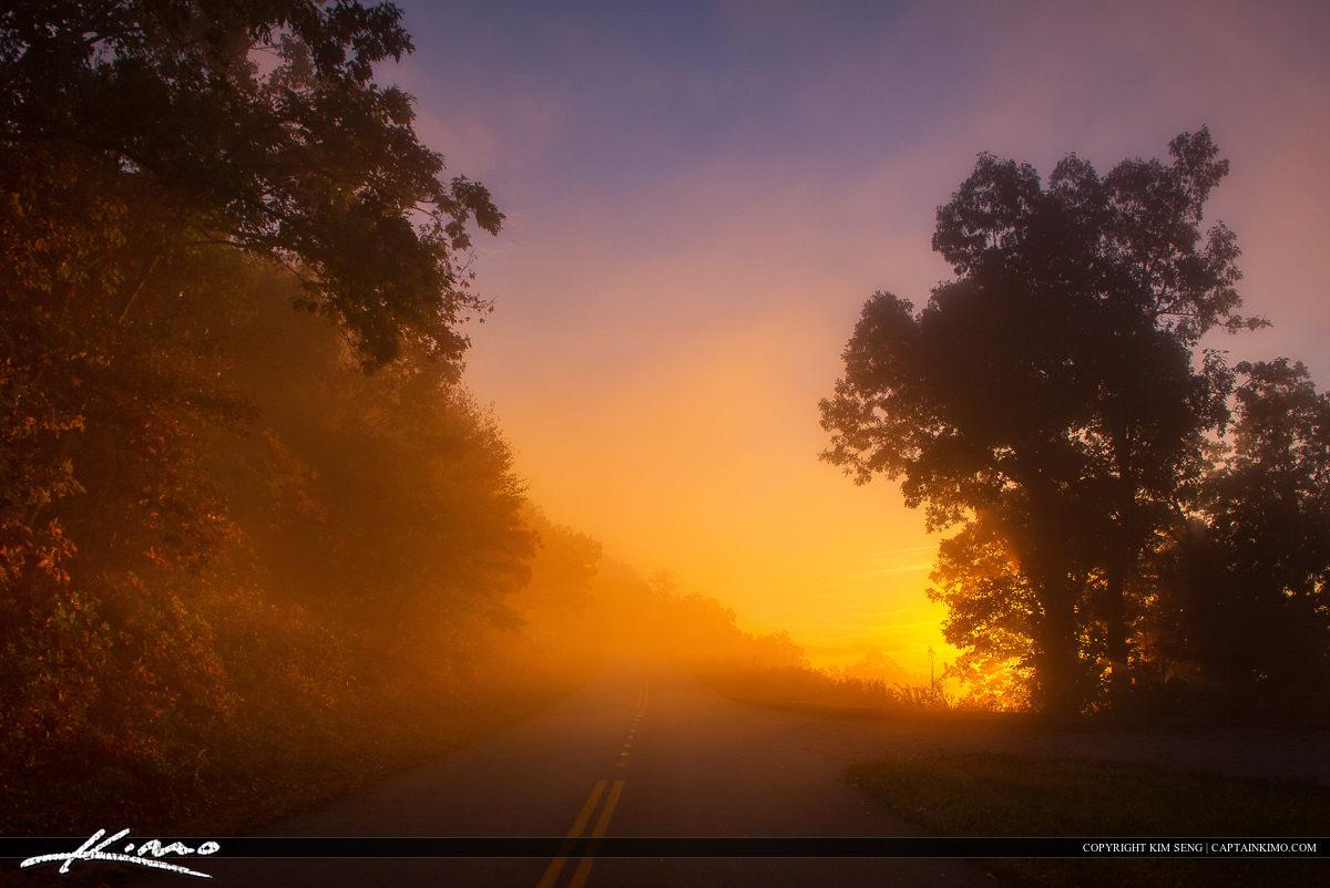 Misty Mountain Morning Sunrise Blue Ridge Parkway Asheville NC