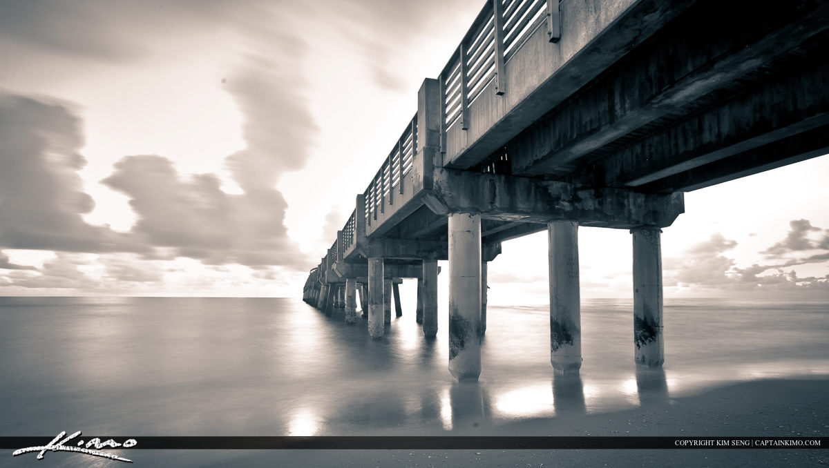 Deerfield Beach Pier Black and White Broward County