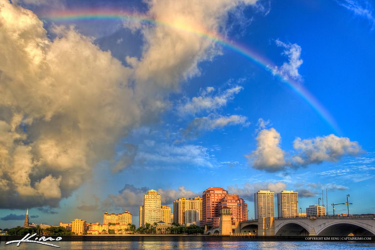 Rainbow Over West Palm Beach Florida City Buildings