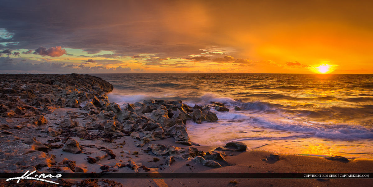 Sunrise Pano at Blowing Rocks Beach Jupiter Florida