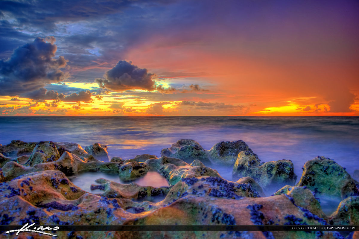 Sunrise at blowing rocks in Jupiter Florida treasure Coast