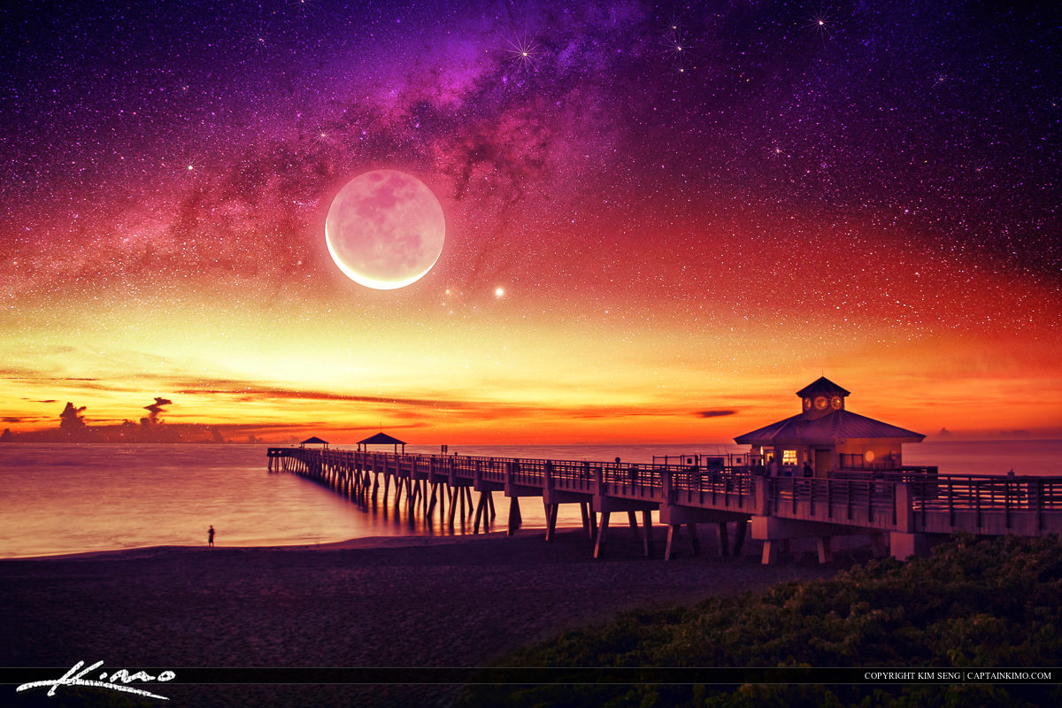 Milkyway Moon Rise Over Ocean Fantasy Photo Art