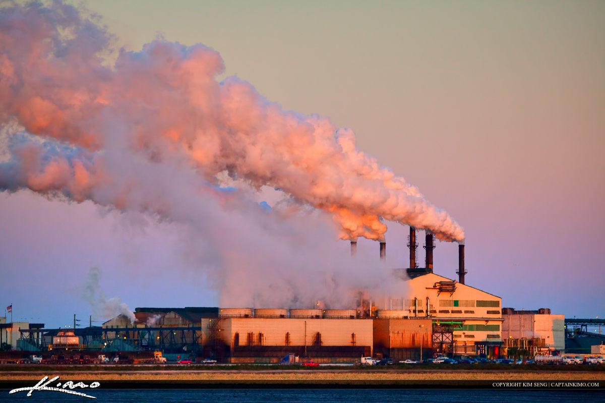 Sugar Factory Producing Smoke Pollution into the Earth