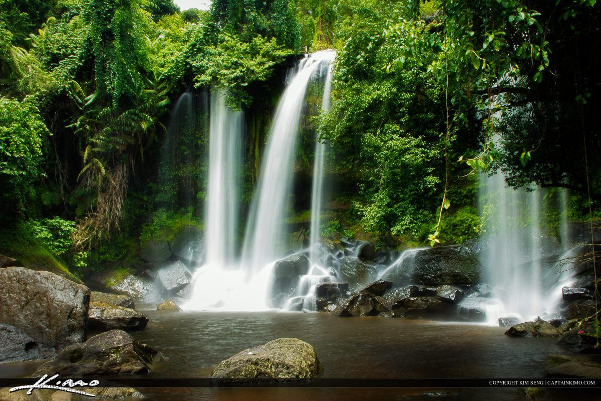 Waterfall in Phnom Kulen Siem Reap Cambodia